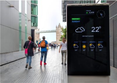 Digital sign showing weather forecast in tourist area