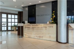 Digital signage in a reception area