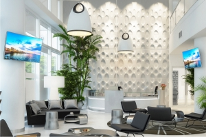 Digital screens in smart reception area