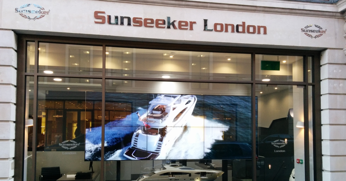 High end video wall for Sunseeker London