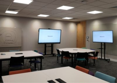 Large meeting and training room with audio visual technology