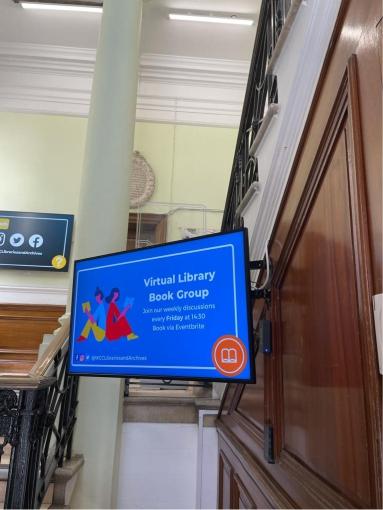Digital display screen installation for visitor information